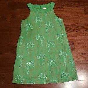 Gymboree size 8 flamingo/palm tree green dress